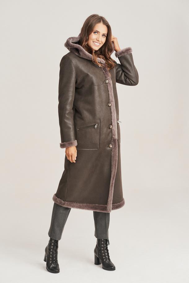 Dámský dlouhý, oboustranný kabát z ovčí kůže s kapucí - Dámská kožešina s kapucí
