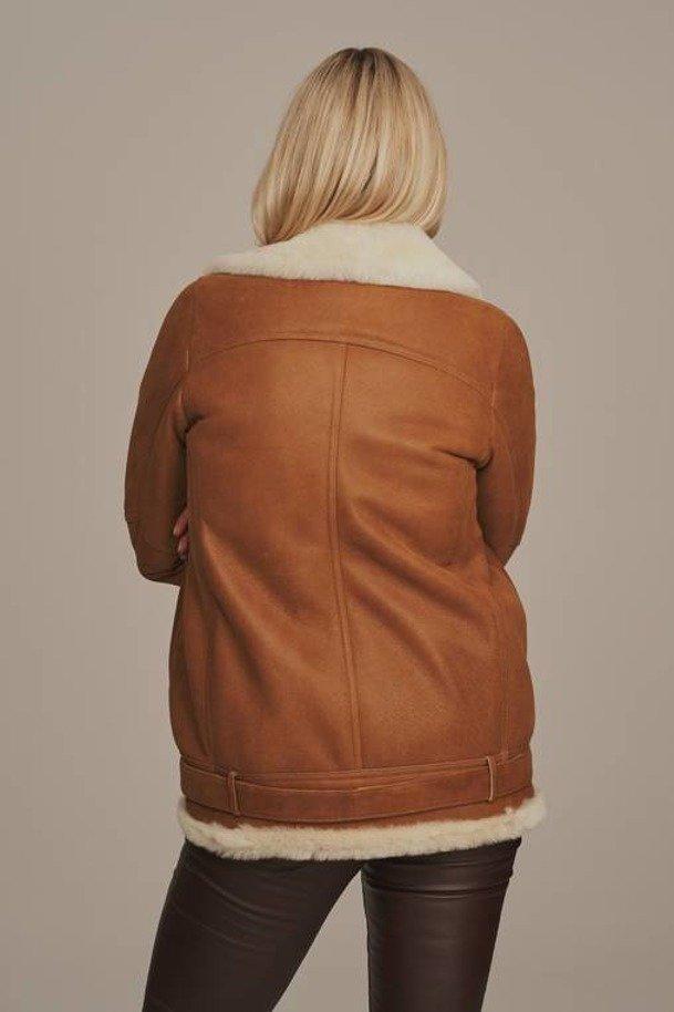 Dámská letecká bunda s kožíškem - Kožená bunda pilotka dámská