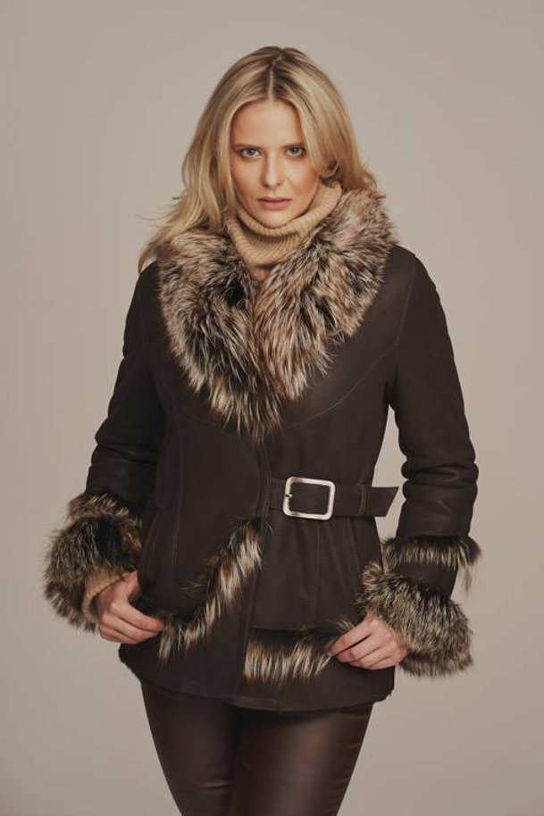 Dámská zimní bunda s kožešinovým límcem - Ovčí kožich dámský