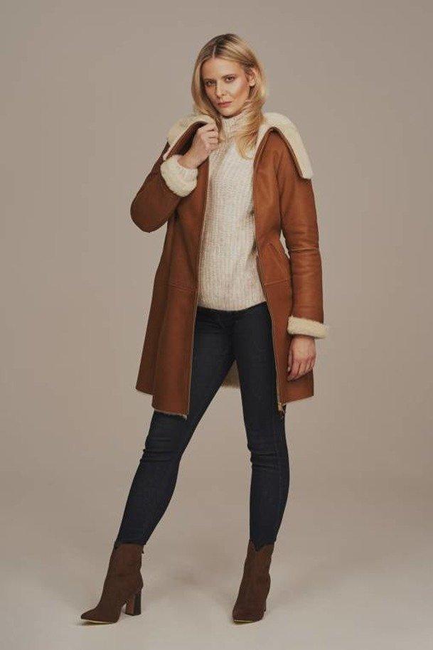 Dámský kožich dubeňák - Zimní kožený kabát z ovčí kůže