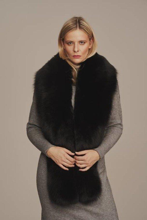 Kožešinový límec černý z pravé lišky