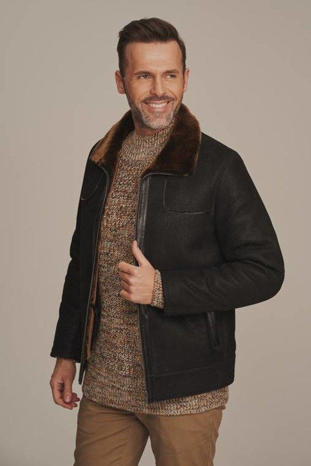 Pánská zimní kožená bunda - Pánský kožich - jehnětina