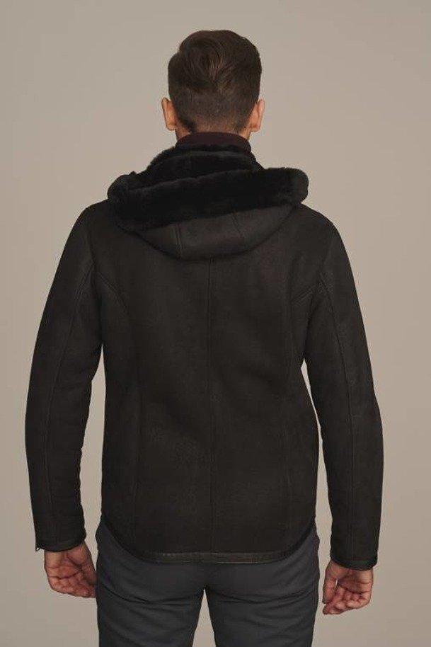 Pánský kožich černý s kapucí - Dubeňák