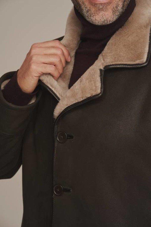 Pánský zimní kabát - Klasický hnědý pánský kožich