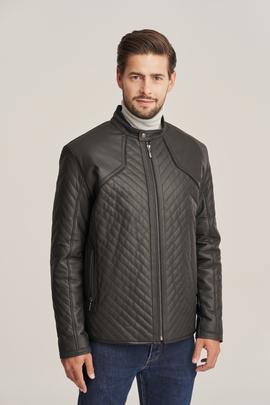 Men's black leather jacket