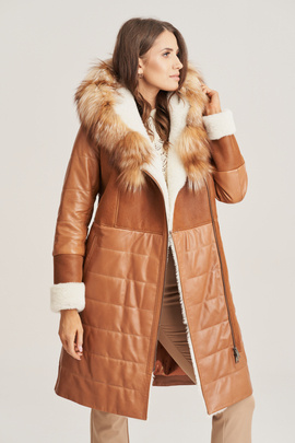 Women's winter leather coat with fur