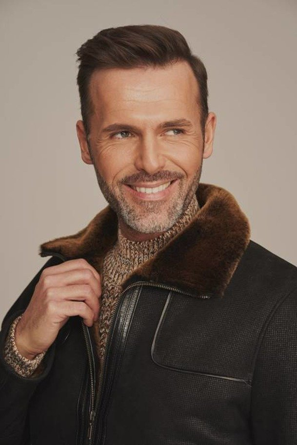 Leather shearling jacket men
