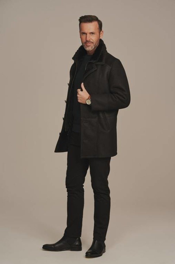 Mens black sheepskin coat