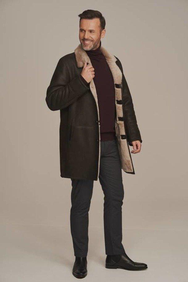 Men's real sheepskin coat