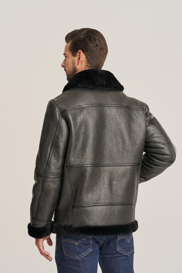Men's sheepskin b-3 bomber jacket