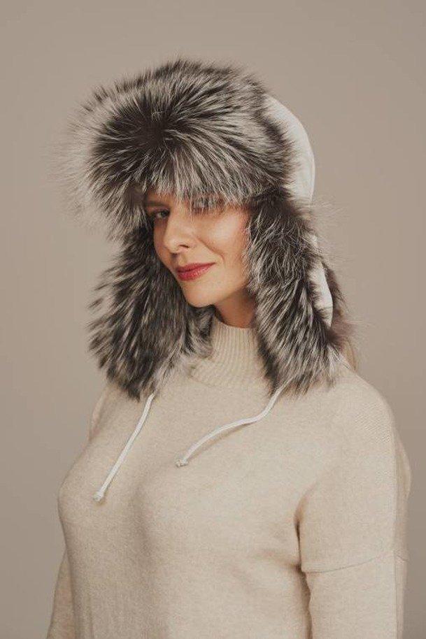 Women's silver fox fur trapper hat