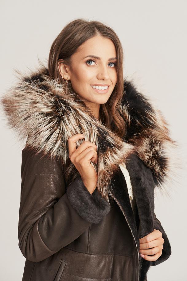 Women's winter leather coat