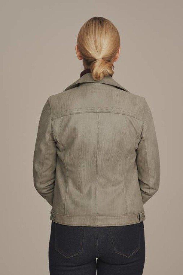 Graue Bikerjacke aus Leder für Damen