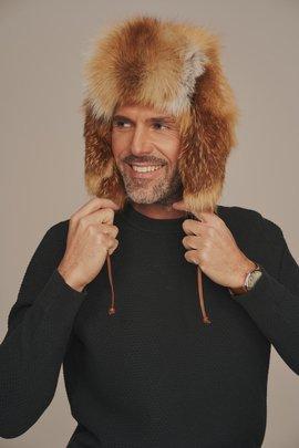 Mens red fox fur hat