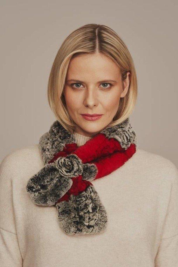 Genuine rex rabbit fur scarf