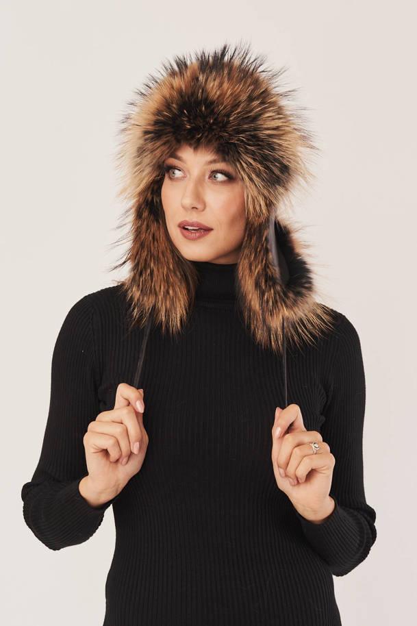 Leather women's winter aviator hat