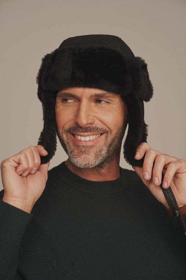 Men's shearling trapper hat