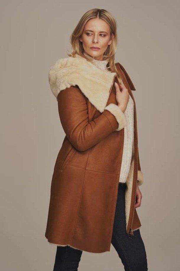 Kożuch damski z kapturem - Płaszcz skórzany zimowy