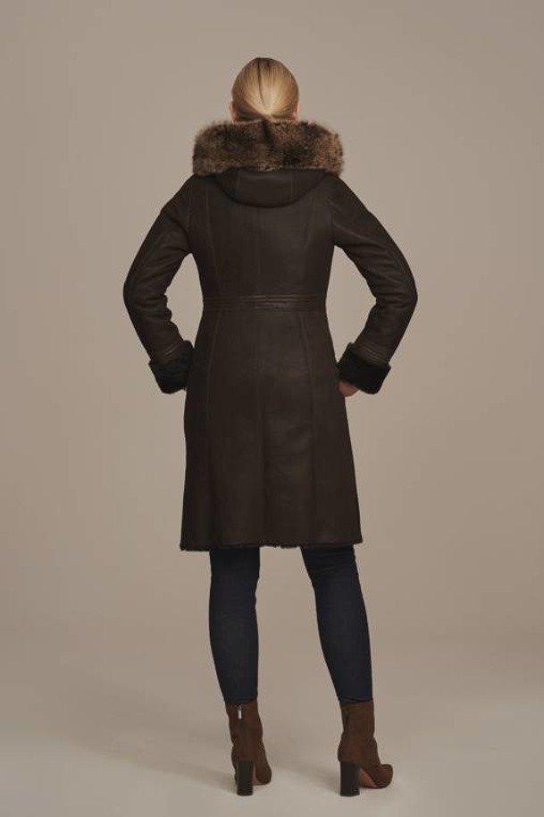 Kożuch damski zimowy z kapturem