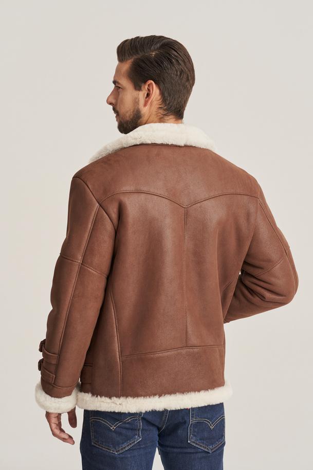 Kożuch męski brązowy - Kurtka skórzana zimowa męska