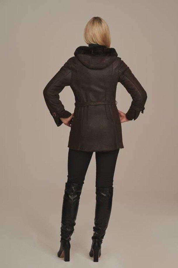 Kurtka zimowa damska z futerkiem Kożuch naturalny