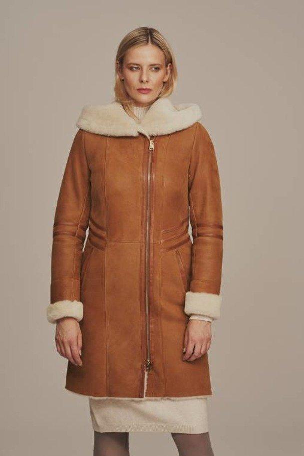 Płaszcz damski zimowy z kapturem naturalny