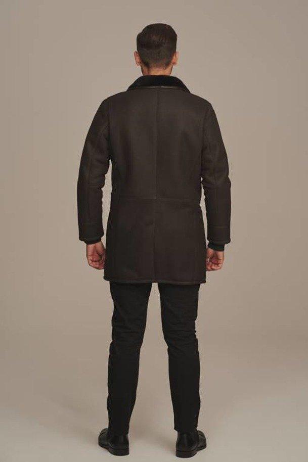 Płaszcz męski zimowy długi kożuch naturalny