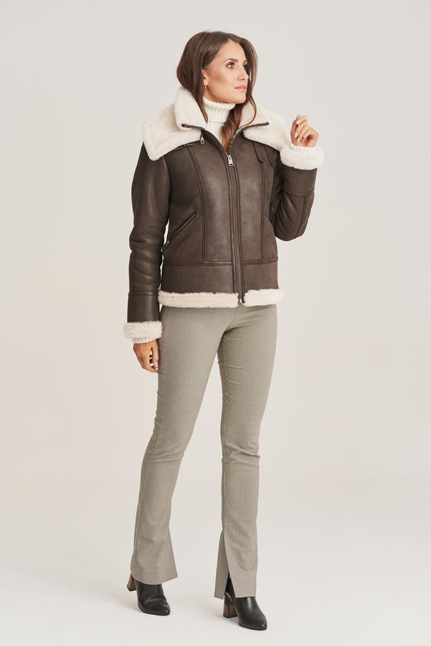 Dámska zimná kožená bunda