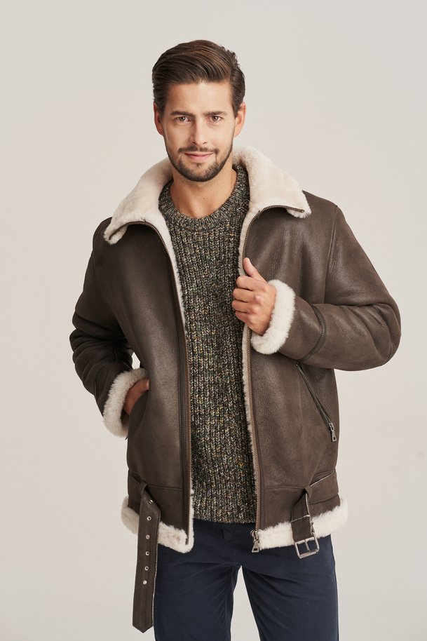 Pánska letecká bunda - Pánska zimná kožená bunda